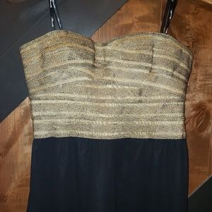 Strapless Gold Bustier and Black Pants Pantsuit